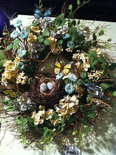Bird Nest & Butterflies Wreath (sorry, cannot find direct link), Birds, Butterflies & Garden Crafts