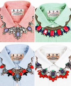 How to wear statement jewelry with a collar shirt