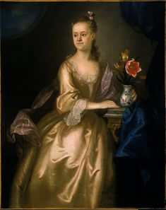 """""""Ann Phillips"""" by Joseph Blackburn (1755) in the Smith College Museum of Art, Massachusetts - From the curators' comments: """"Blackburn has paid particular attention to the complex patterns of the lace on the bodice and sleeves of her dress, and has invented several accessories including her roped pearls and hair ornaments. The Chinese vase which she holds protectively serves as a visual symbol of the source of this mercantile family's substantial wealth."""""""