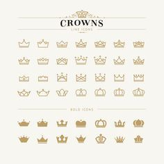 Set of crown line and bold icons. Set of crown icons , Mini Tattoos, Body Art Tattoos, Small Tattoos, Bow Tattoos, Tatoos, Sleeve Tattoos, Paar Tattoos, Neue Tattoos, Piercings