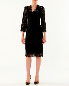 V-Neck Cordonetto Lace Dress by Dolce & Gabbana at Neiman Marcus.