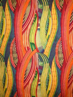 Orange and Gold Mashama Stripe Print Pure Cotton Fabric--One Yard