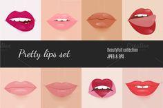 Realistic Lips Vector Set ~ Graphics on Creative Market