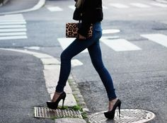 High heels and Panter clutch