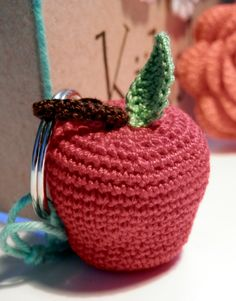 Crochet apple keychain