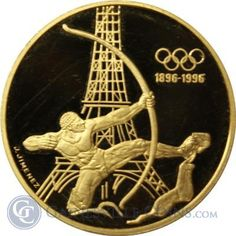 1994 France 500 Franc Proof Gold Olympic Coin - Archer Eiffel