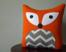 Fox Pillow - Orange with Gray Chevron - Decorative Throw Pillow - Woodland Nursery