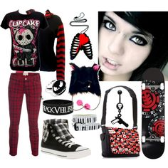 Skate & Emo Girl Style <3 by deaf-2 on Polyvore featuring Current/Elliott, Converse, Weiss and Element