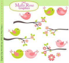 birds clip art , Digital Clip Art ,Pink and Green Bird with branch , Invitations, Card Making, Scrapbooking M.09