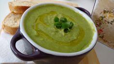 sopa de ervilha fresca com aveia