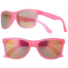 Women's SO® Frosted Retro Square Sunglasses ($9.99) ❤ liked on Polyvore featuring accessories, eyewear, sunglasses, hot pink, retro eyewear, round glasses, retro sunglasses, retro style glasses and hot pink sunglasses