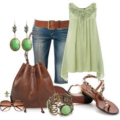 Like the green and brown  ~created by hatsgaloore on Polyvore