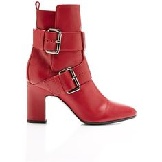 Pierre Hardy Tom Buckle Boot (€1.290) ❤ liked on Polyvore featuring shoes, boots, red, pierre hardy shoes, pierre hardy boots, buckle boots, pierre hardy and red boots