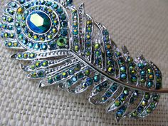 Peacock Emerald Green Crystal Hair Clip Feather Fashion $39.50 (I wish I wore hairclips.)