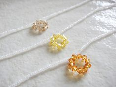 Minimalist Crystal Circle Pendant Necklace in Orange, Yellow and Light Brown    [Ideas & Design]  ORIGNAL DESIGN  Simple crystal circle pendant just like cute bubble,   This delicate seed beads necklace is light weight, casual but unique and excellent as friendship necklaces.