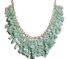 September Challenge Bib necklace--  Amazonite  This semi-opaque blue-green variety of feldspar is named after the Amazon River, but is found mostly in the U.S. and Australia.  $38 + $6 Shipping