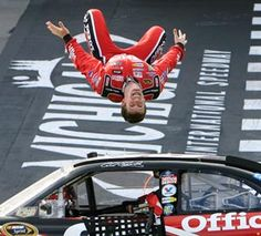 The backflip!  Carl Edwards....Carl...please stop doing this...I don't want to see you hurt....you are one of my favorite racers!