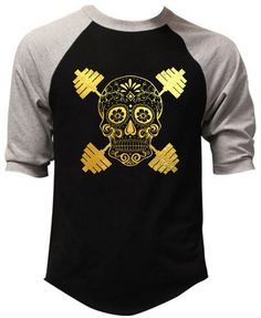 Men's Gold Foil Sugar Skull Dumbbell Black Baseball Raglan T Shirt Workout Gym | Clothing, Shoes & Accessories, Men's Clothing, T-Shirts | eBay!
