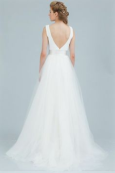 """Theia bridal """"Victoria"""" gown back   Beautiful bateau neckline ballgown with V opening in the back."""