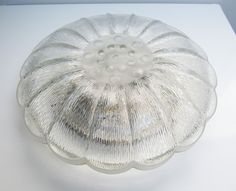 Large Mid Century clear glass ceiling lamp globe, vintage retro, round transparent, flower shape, Diameter 15.3 in / 39 cm by EbyVintage on Etsy