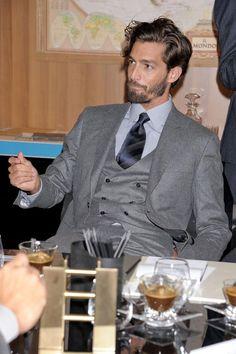 Grey three piece suit with double breasted vest Dapper Gentleman, Gentleman Style, Sharp Dressed Man, Well Dressed Men, Double Breasted Vest, Single Breasted, Smoking, Three Piece Suit, 3 Piece