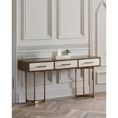 John-Richard Collection Lyle Console Table (12,970 SAR) ❤ liked on Polyvore featuring home, furniture, tables, accent tables, gold, handmade furniture, john richard furniture, hand made furniture, dovetail table and dovetail furniture