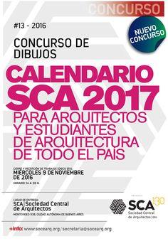 SCA | CONCURSO DE DIBUJOS PARA CALENDARIO SCA 2017  La Sociedad Central de Arquitectos invita al Concurso para seleccionar dibujos que serán impresos en el Calendario 2017 de dicha institución.  Fecha de entrega: miércoles 9 de noviembre de 2016.  Más info: http://ly.cpau.org/2ep0Xl3  #AgendaCPAU #Concursos #RecomendadoARQ