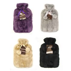 Faux Fur Pom Pom Hot Water Bottle - Homestore and More