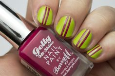 Lime and Pomegranate nail art