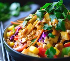 Thai-Style Buddha Bowl with Peanut Red Curry Sauce