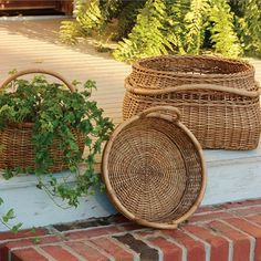 Artisan Baskets with Rattan Pole Handles - Set of 3