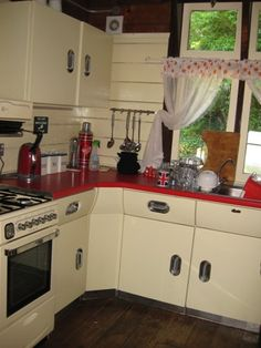 red english rose kitchen