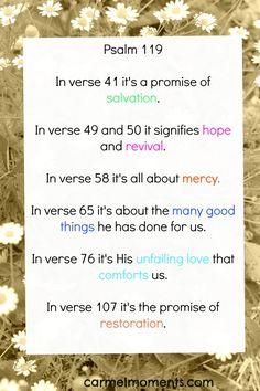 Psalm 119 | Promises of God carmelmoments.com