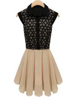 black sleeveless high waist lace dress