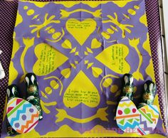 Danish easter tradition. cut a beautiful pattern out of a piece of paper and write a riddle about your name inside. If the receiver can´t figure out the name of the sender then the receiver owes a easter egg (preferably choclate).