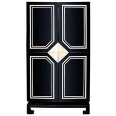 Exceptional Black Lacquer Cabinet with Bone Inlay ca.1970's France | From a unique collection of antique and modern cabinets at http://www.1stdibs.com/furniture/storage-case-pieces/cabinets/