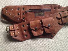 Aged Light Brown leather UTILITY belt POCKET BELT by Gekkoonline, £45.00