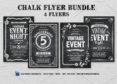 4 Chalk Flyers Bundle by DesignWorkz on @creativemarket