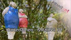 Vom rohen Tonblock zum Schmuck für den Garten oder die Terrasse. Noch ein wenig Farbe und ab in den Brennofen. Badedamen und Badeherren - jedes Stück ein Unikat. Mehr dazu in unserem Onlineshop! #gartenkeramik #handmadepottery Pottery, Ceramics, How To Make, Inspiration, Sewing Lessons, Cold Porcelain, Crafts, Patio, Paper