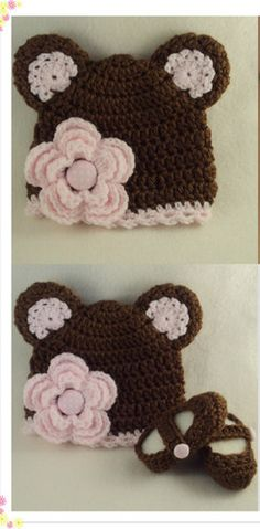 Toddler Girl Brown Pink Flower Bear Hat Booties ~ Inspiration