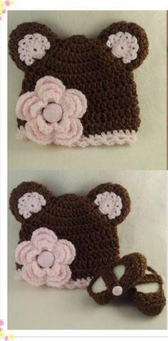 Toddler Girl Brown Pink Flower Bear Hat Booties
