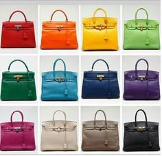 Rainbow colors of Hermes Birkin bags Sac Birkin Hermes, Hermes Bags, Hermes Handbags, Purses And Handbags, Birkin Bags, Sac Hermes Kelly, Fashion Bags, Fashion Accessories, Chanel