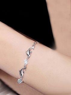 Silver Dancing Dolphins AD Bracelet Jewellery #Bracelet