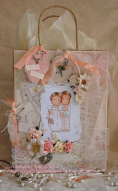 OOAK magnolia Tilda handmade gift bag by craftykatdesigns