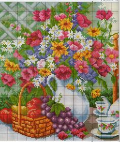 ru / Photo # 3 - Summer Tea Party: 2 circuits of one painting - frango Cross Stitch Kitchen, Cross Stitch Art, Cross Stitch Animals, Cross Stitch Flowers, Cross Stitching, Cross Stitch Embroidery, Funny Cross Stitch Patterns, Cross Stitch Designs, Stitch Games