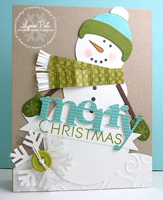 This handmade Christmas card was created using the Papertrey Ink snowman die set -isn't he adorable! There's a coordinating stamp set for the accessories. This little guy is all bundled up in hat, scarf and mittens, and one giant snowflake. Christmas Paper, Christmas Snowman, All Things Christmas, Handmade Christmas, Christmas Crafts, Merry Christmas, Xmas Cards, Holiday Cards, Greeting Cards