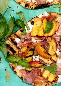 Grab the recipe for this Grilled Peach and Prosciutto Pizza! It's grilled pizza dough topped with grilled peaches, mozzarella and herbs! Grilled Pizza Recipes, White Pizza Recipes, Pizza Flavors, Bacon Recipes, Real Food Recipes, Healthy Recipes, Diet Recipes, Cooking Recipes, Watermelon Pizza