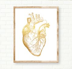 Gold Foil Heart, Anatomical Print Gold Wall Decor by PeachAndGold