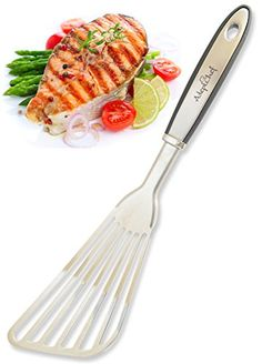 Fish Spatula  AdeptChef Stainless Steel Slotted Turner  Beveled Design Ideal For Turning  Flipping To Enhance Frying  Grilling  Sturdy Handle MultiPurpose  Buy Your Premium Experience TODAY >>> More info could be found at the image url.