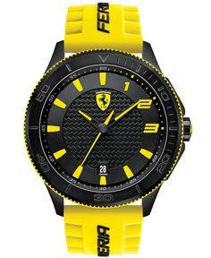 Ferrari Black Men'S Scuderia Yellow Silicone Strap Watch 48Mm